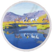 Mirror In The Cairngorms Round Beach Towel