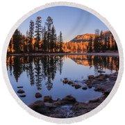 Mirror Lake Dawn Round Beach Towel