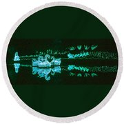 Mirror Lake Reflections In Teal Round Beach Towel