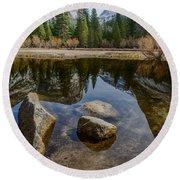 Mirror Lake Threesome Yosemite Round Beach Towel