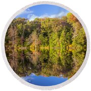 Mirror Reflections Of Fall Round Beach Towel