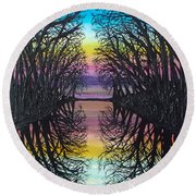 Mirror Water Round Beach Towel