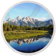 Mirrored Beauty Round Beach Towel