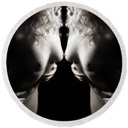 Mirrored Nude Beauty Round Beach Towel