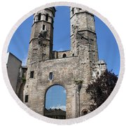 Mirrored Portal - Macon  Round Beach Towel