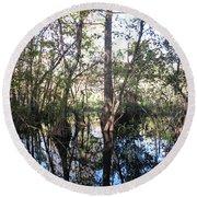Mirroring The Swamp Round Beach Towel