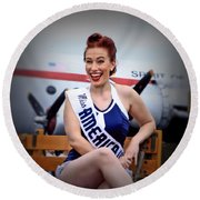 Miss America Round Beach Towel