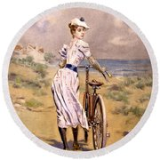 Miss Bicycle 1894 Round Beach Towel