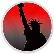 Miss Liberty Abstract Round Beach Towel