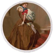 Miss Lilys Return From The Ball, 1866 Round Beach Towel