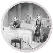 Miss Nightingale In The Hospital Round Beach Towel