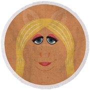 Miss Piggy Vintage Minimalistic Illustration On Worn Distressed Canvas Series No 011 Round Beach Towel