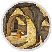 Mission Arches Round Beach Towel