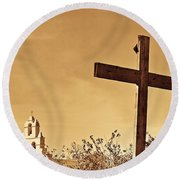 Mission In Sepia Round Beach Towel
