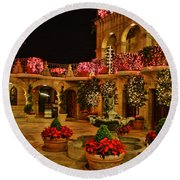 Mission Inn Christmas Chapel Courtyard Round Beach Towel