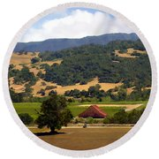 Mission Meadows Solvang California Round Beach Towel