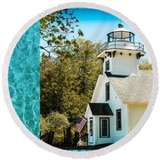 Mission Point Light House Michigan Round Beach Towel
