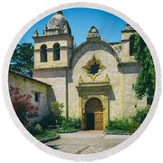 Mission San Carlos - Carmel California Round Beach Towel