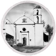 Mission San Luis Rey Bw Blue Round Beach Towel by Kip DeVore