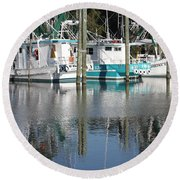 Mississippi Boats Round Beach Towel