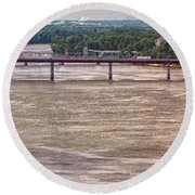 Mississippi River At I-72 Round Beach Towel