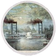 Mississippi River Race, C1859 Round Beach Towel