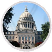 Mississippi State Capitol Downtown Jackson Round Beach Towel