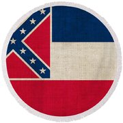 Mississippi State Flag Round Beach Towel by Pixel Chimp