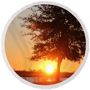 Mississippi Sunset 1 Round Beach Towel