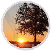 Mississippi Sunset 6 Round Beach Towel