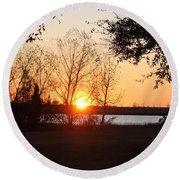 Mississippi Sunset 9 Round Beach Towel
