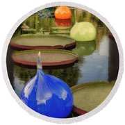 Missouri Botanical Garden Six Glass Spheres And Lilly Pads Img 2464 Round Beach Towel