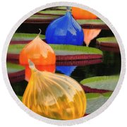 Missouri Botanical Garden Six Glass Spheres And Lilly Pads Img 5490 Round Beach Towel