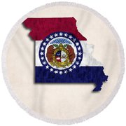 Missouri Map Art With Flag Design Round Beach Towel
