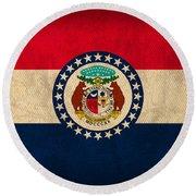 Missouri State Flag Art On Worn Canvas Round Beach Towel