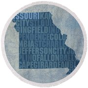 Missouri Word Art State Map On Canvas Round Beach Towel by Design Turnpike