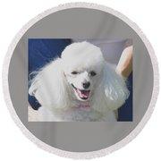 Missy White Poodle Round Beach Towel