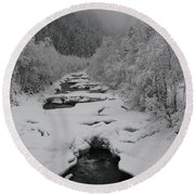 Mist Above The Creek Round Beach Towel