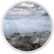 Mist And Cloud Round Beach Towel