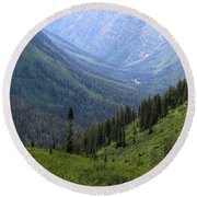 Mist In The Valley Round Beach Towel