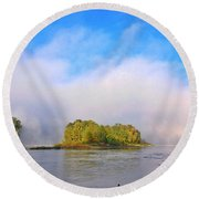 Mist Rising On The Willamette River Round Beach Towel