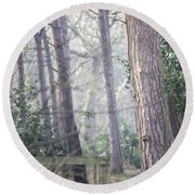 Mist Through The Trees Round Beach Towel
