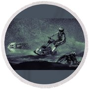 Scary Split-second At Sixty Mph Round Beach Towel