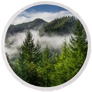 Mists Among The Hills Round Beach Towel