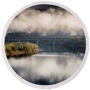 Mists And Bridge Over Klamath Round Beach Towel