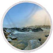 Mists Of Great Falls Round Beach Towel