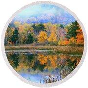 Misty Autumn Pond  Round Beach Towel