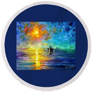 Misty Calm - Palette Knife Oil Painting On Canvas By Leonid Afremov Round Beach Towel