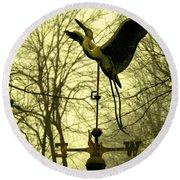 Misty Egret - Gold Round Beach Towel