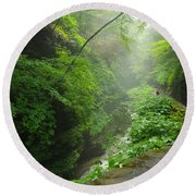 Misty Evening At Watkins Glen Round Beach Towel